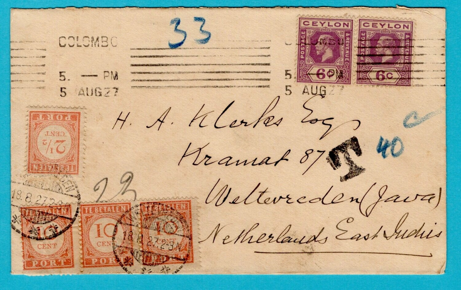 NETHERLANDS EAST INDIES postage due cover 1927 Ceylon
