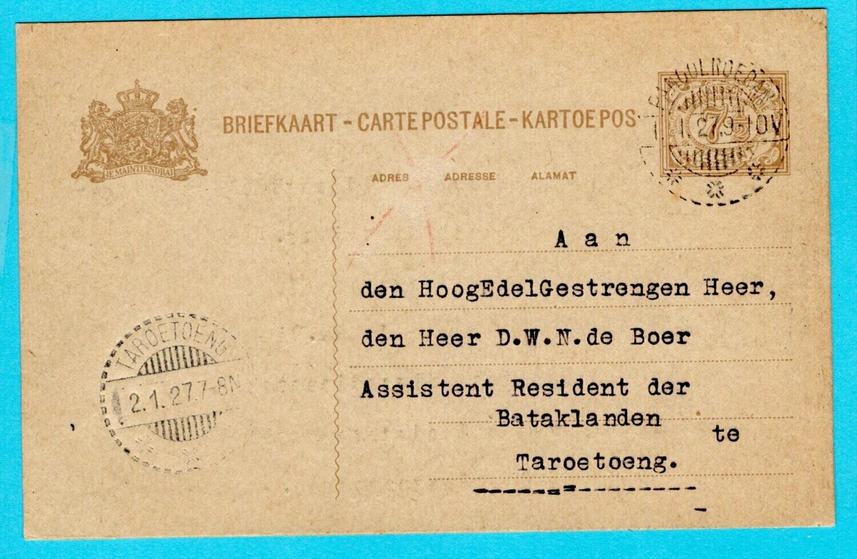 NETHERLANDS EAST INDIES postal card 1927 Pangoeroeran