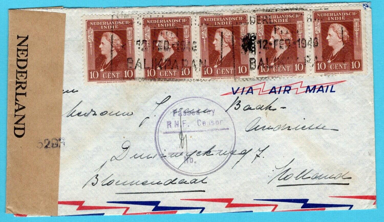 NETHERLANDS EAST INDIES censor air cover 1946 Balikpapan