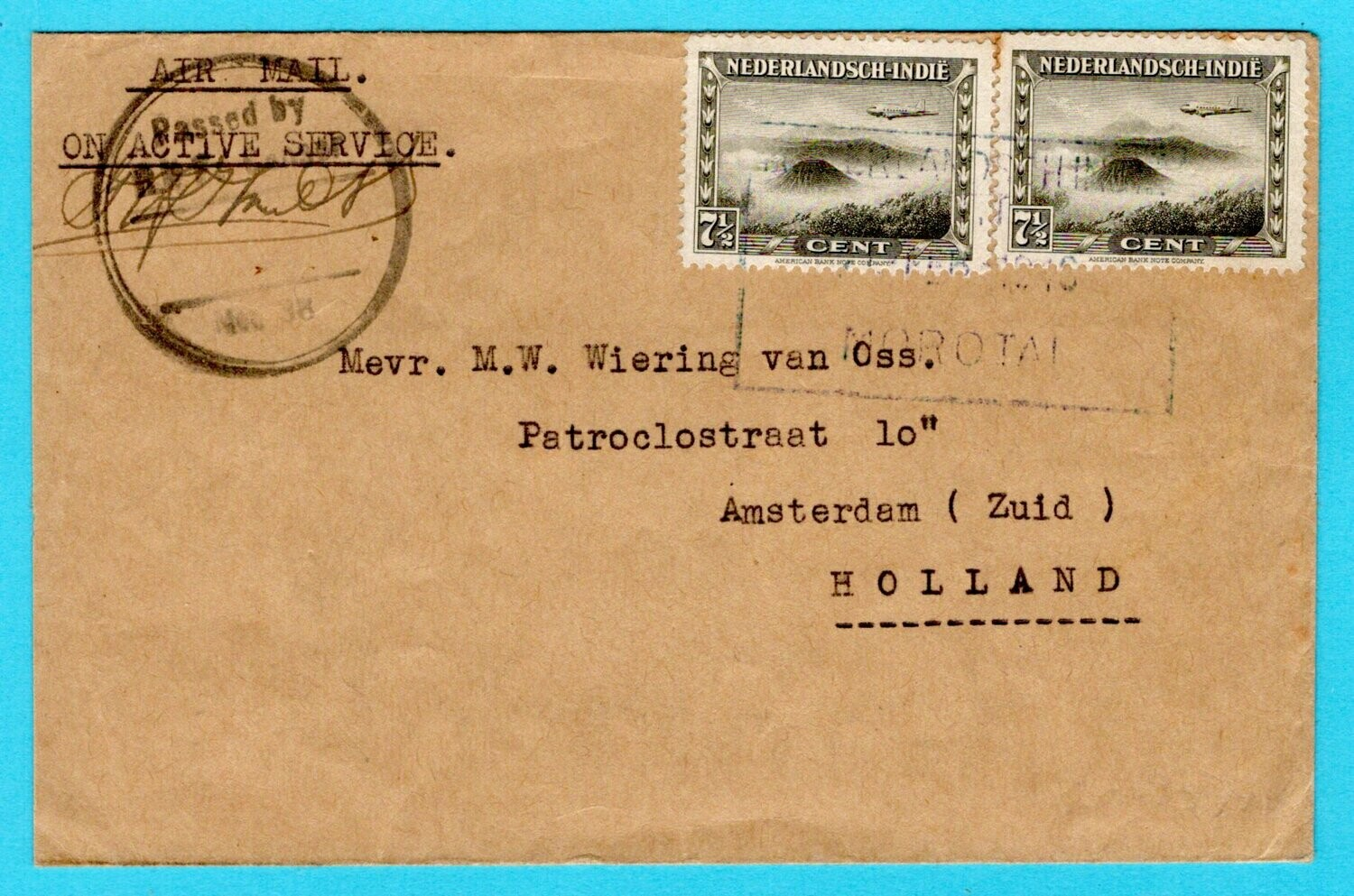 NETHERLANDS EAST INDIES OAS censor cover 1946 Moratai