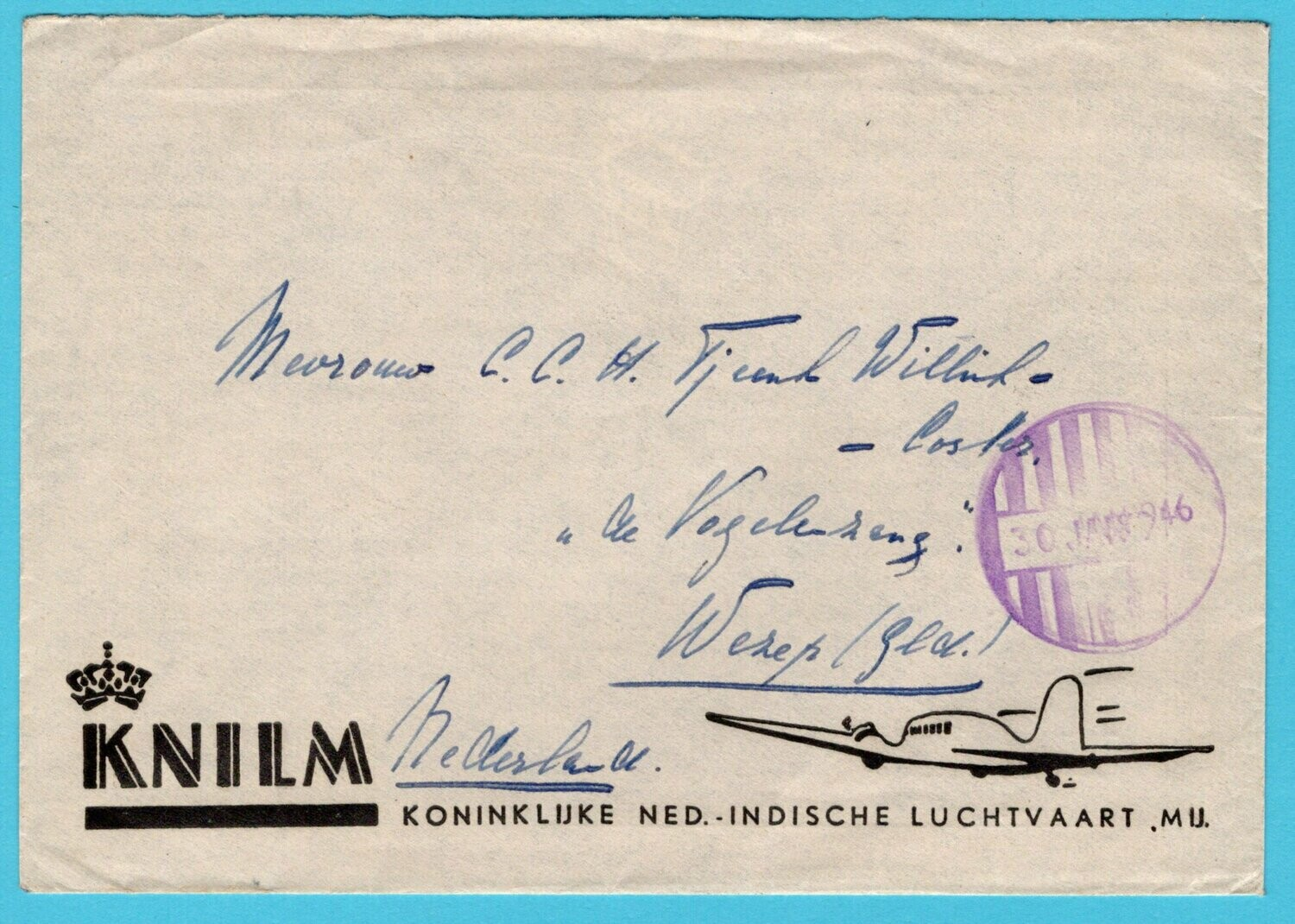 NETHERLANDS EAST INDIES KNILM cover 1946 Batavia