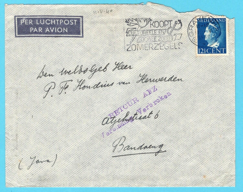 NEDERLAND brief 11-V-1940 Den Haag verbinding verbroken Indië