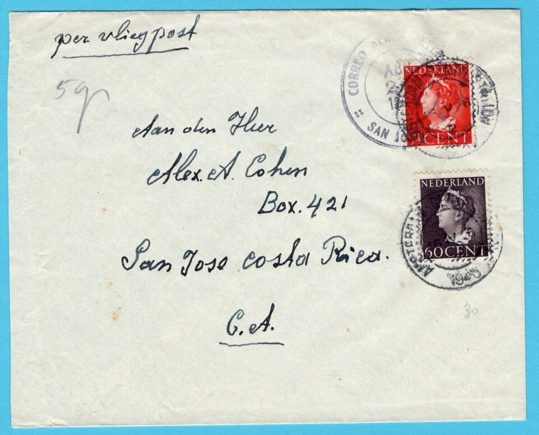 NEDERLAND lp brief 1946 Amsterdam naar Costa Rica