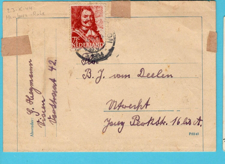 NEDERLAND brief 23-X-1944 Hamborn Duitsland gepost Utrecht