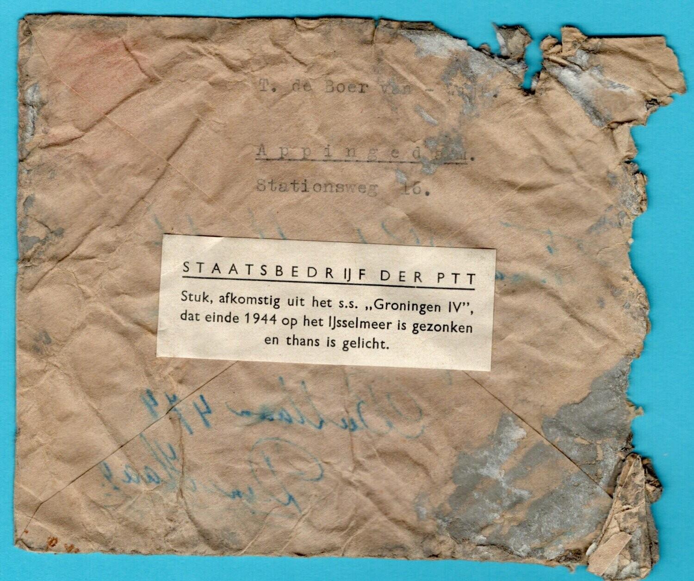 NEDERLAND rampbrief 1945 Appingedam s.s. Groningen IV