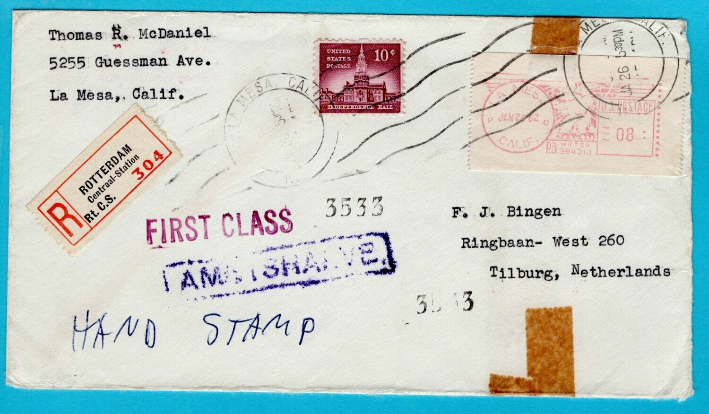 NEDERLAND brief 1962 USA ambtshalve aangetekend Rotterdam
