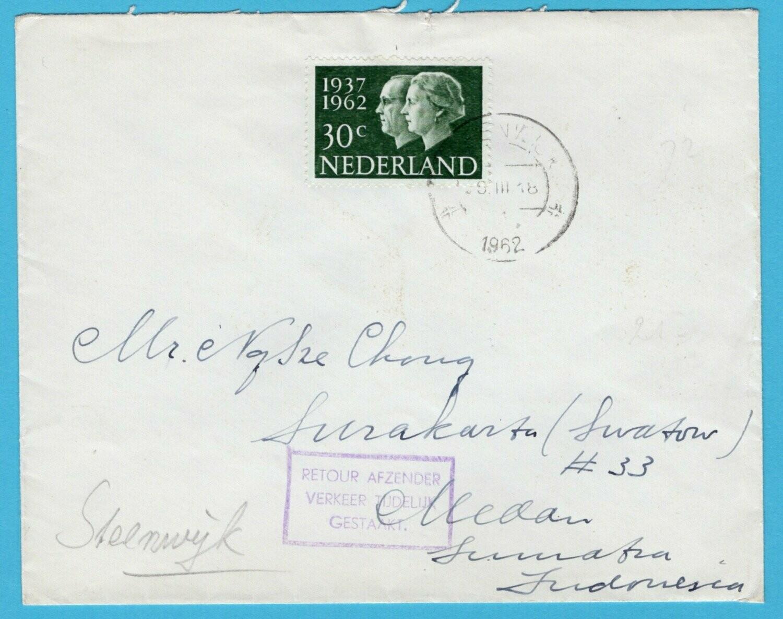 NEDERLAND brief 1962 Steenwijk naar Indonesia post verkeer gestaakt