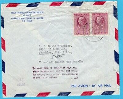 NEDERLAND Cour de Justice brief 1972 Den Haag naar USA