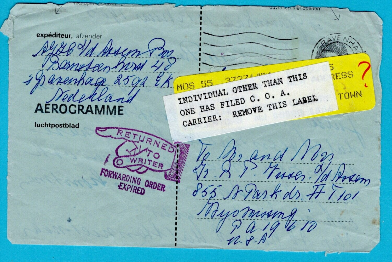 NEDERLAND aerogram 1985 Den Haag naar USA en retour