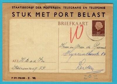 NEDERLAND briefkaart 1964 Badhoevedorp met port belast