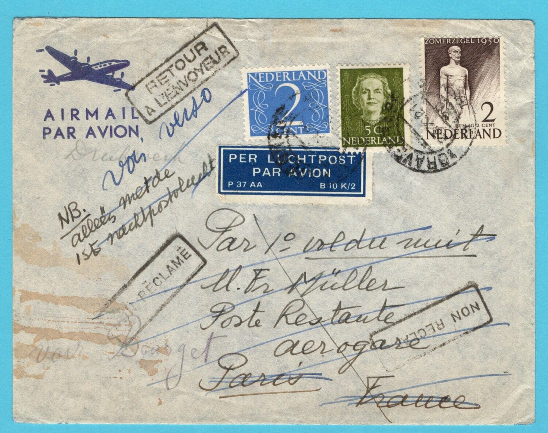 NEDERLAND lp brief 23-X-1950 's Gravenhage per 1e nachtpostvlucht