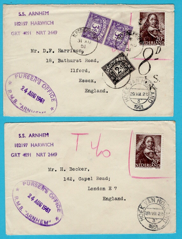 NEDERLAND 2 scheepsbrieven 1951 Hoek van Holland met port UK