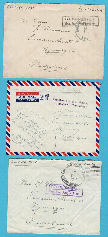 NEDERLAND 3 brieven Korea oorlog 1952-53 portvrij naar Nijmegen
