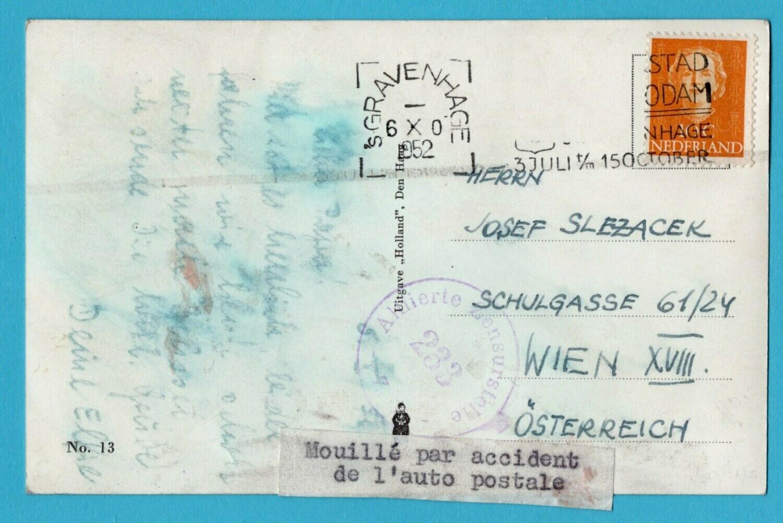 NEDERLAND prentbriefkaat 1952 Den Haag beschadigd postauto