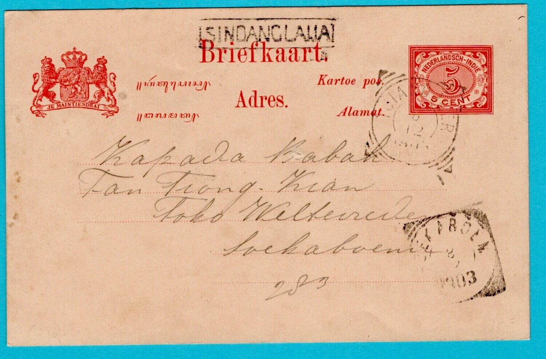 NETHERLANDS EAST INDIES postal card 1903 Sindanglaija