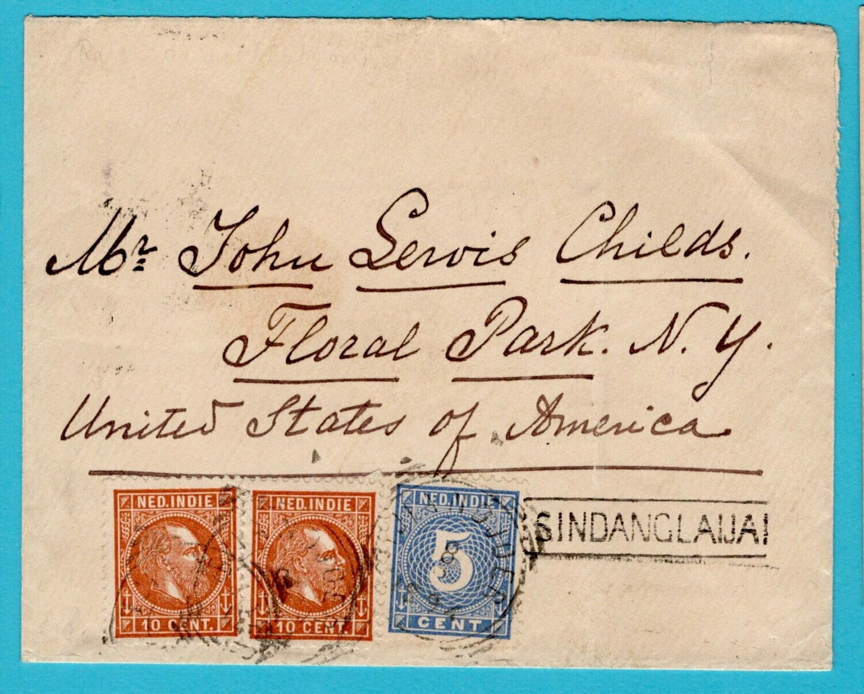 NETHERLANDS EAST INDIES cover 1894 Sindanglaijai to USA