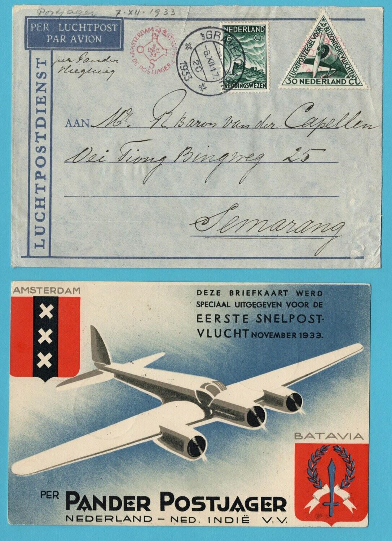 NETHERLANDS EAST INDIES 1933 Pander Postjager cover and card