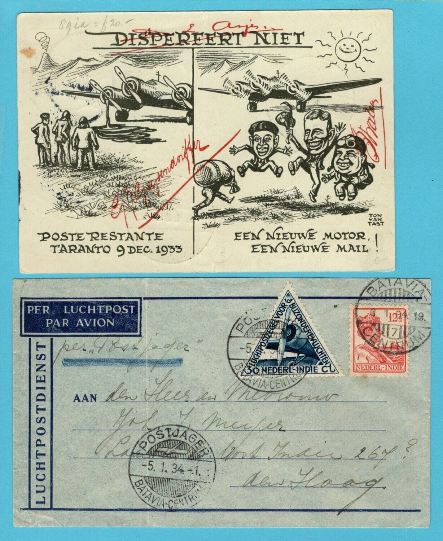 NETHERLANDS EAST INDIES support card 1933 for Postjager + return