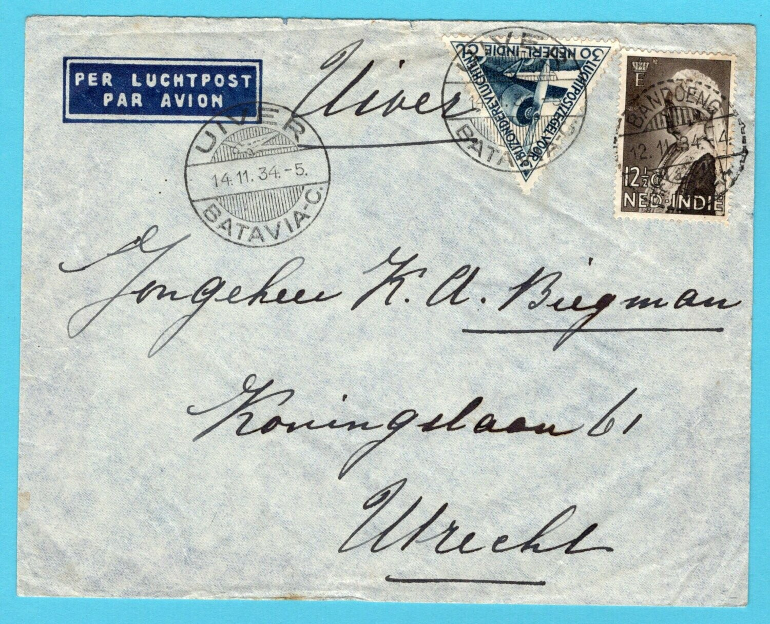 NETHERLANDS EAST INDIES air cover 1934 Bandoeng UIVER
