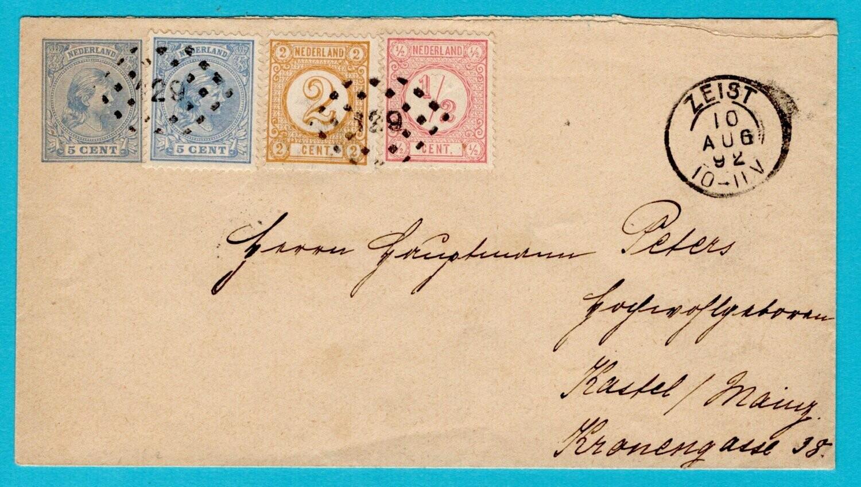 NEDERLAND envelop 1892 puntstempel 129 Zeist naar Duitsland