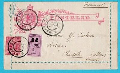 NEDERLAND R postblad 1899 Haarlem naar Frankrijk