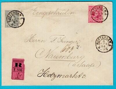 NEDERLAND R envelop 1896 Rotterdam 4 kleinrond naar Duitsland