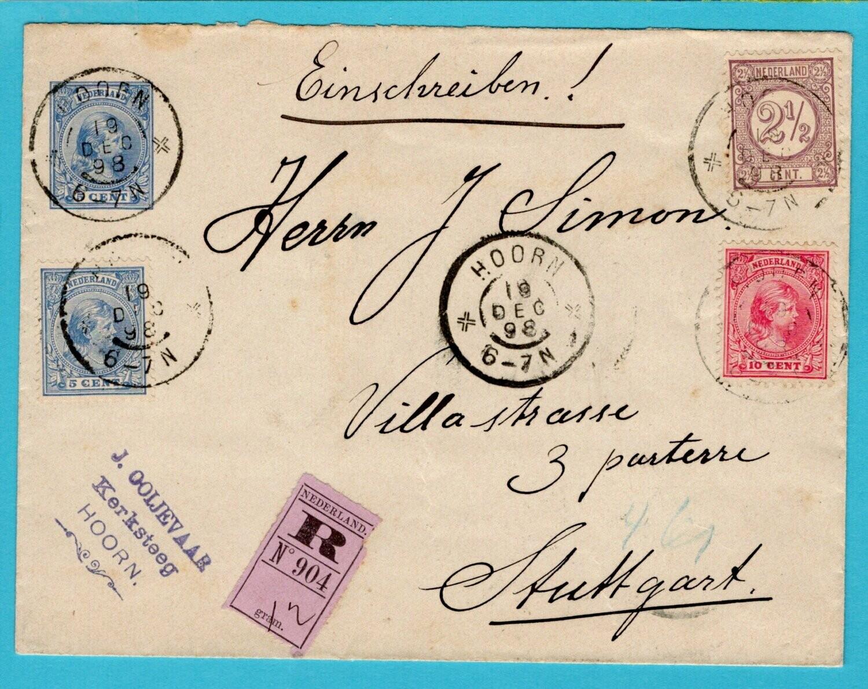 NEDERLAND R envelop 1898 Hoorn naar Duitsland
