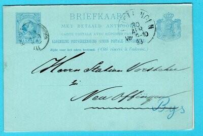 NEDERLAND briefkaart met antwoord 1893 Breda-Vlissingen