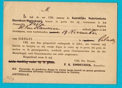 NEDERLAND briefkaart 1877 KNSM Amsterdam