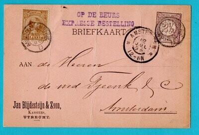 NEDERLAND expres briefkaart 1898 Amsterdam Emmerik
