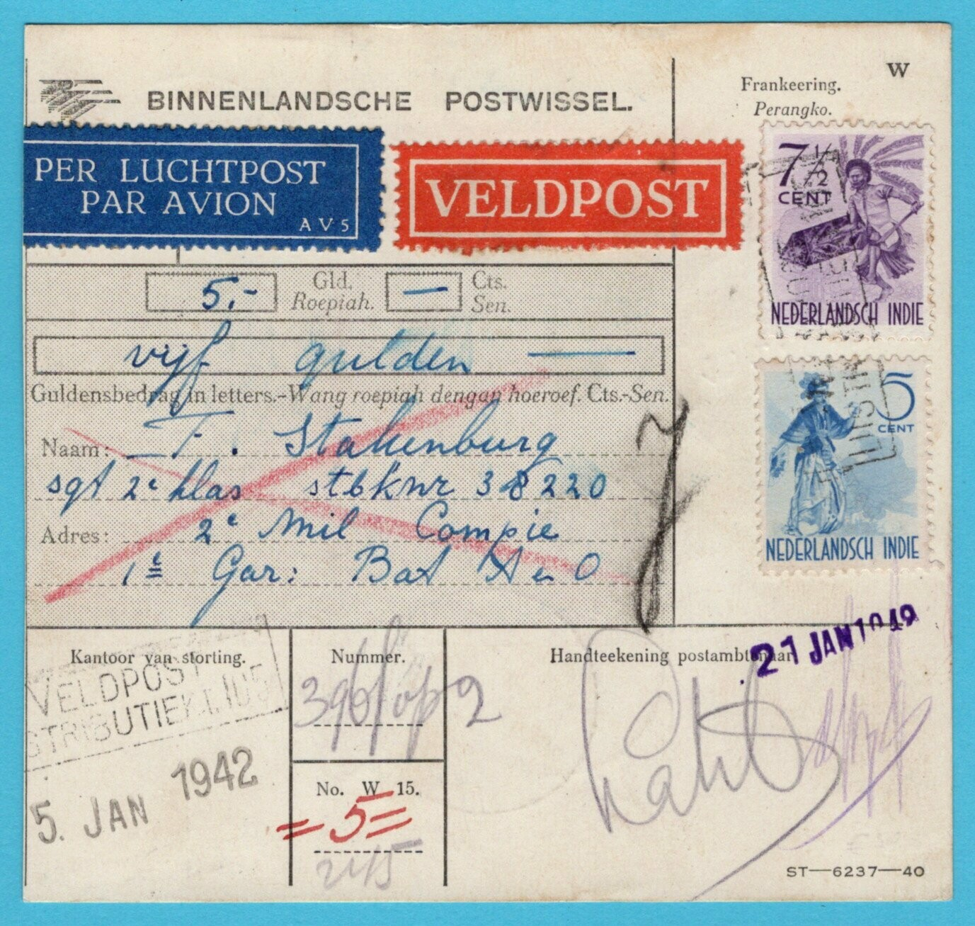 NETHERLANDS EAST INDIES money order 1942 fieldpost 105