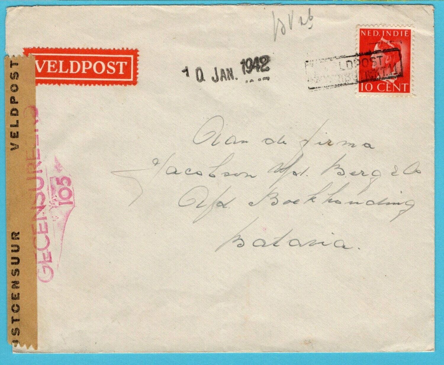 NETHERLANDS EAST INDIES censor fieldpost cover 1942 to Batavia
