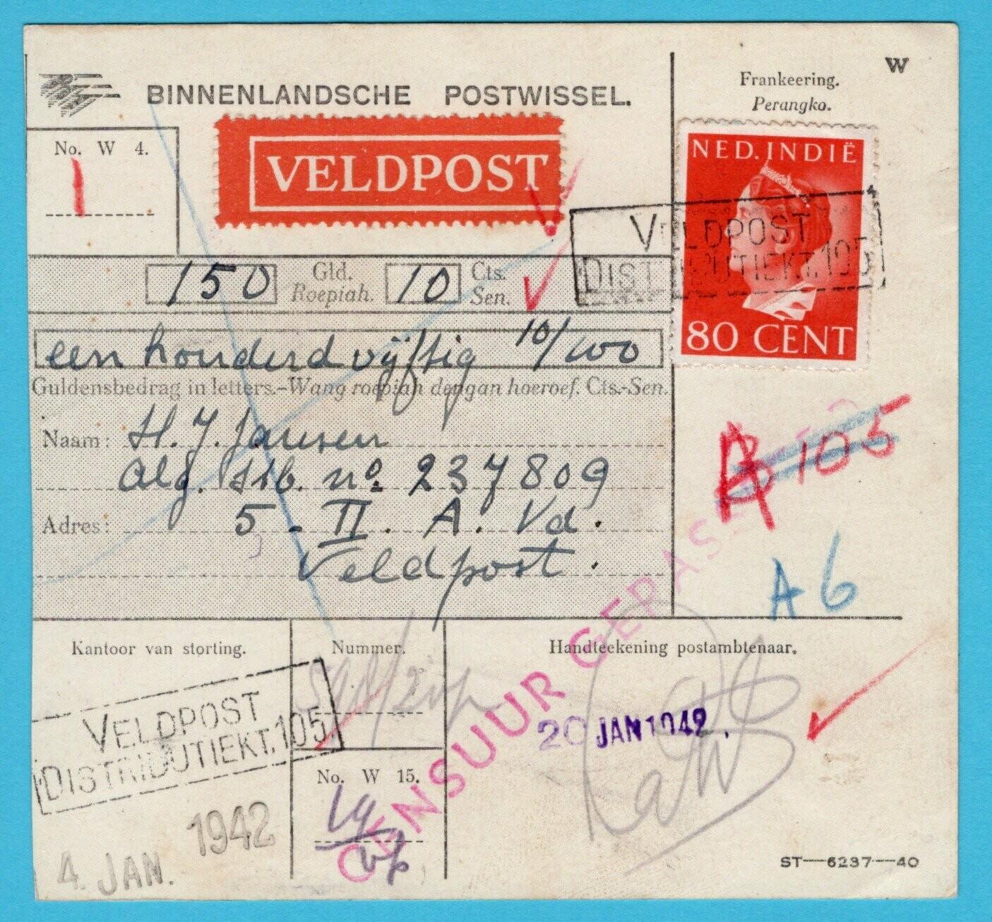NETHERLANDS EAST INDIES money order 1942 office 105 to fieldpost