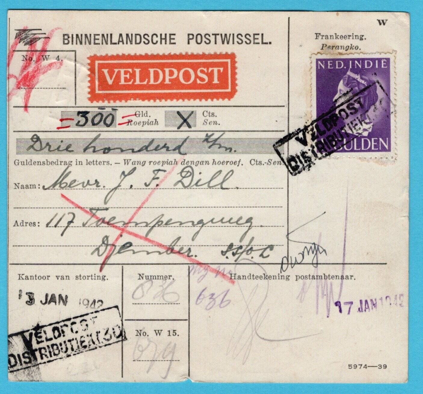 NETHERLANDS EAST INDIES money order 1942 Fieldpost 30