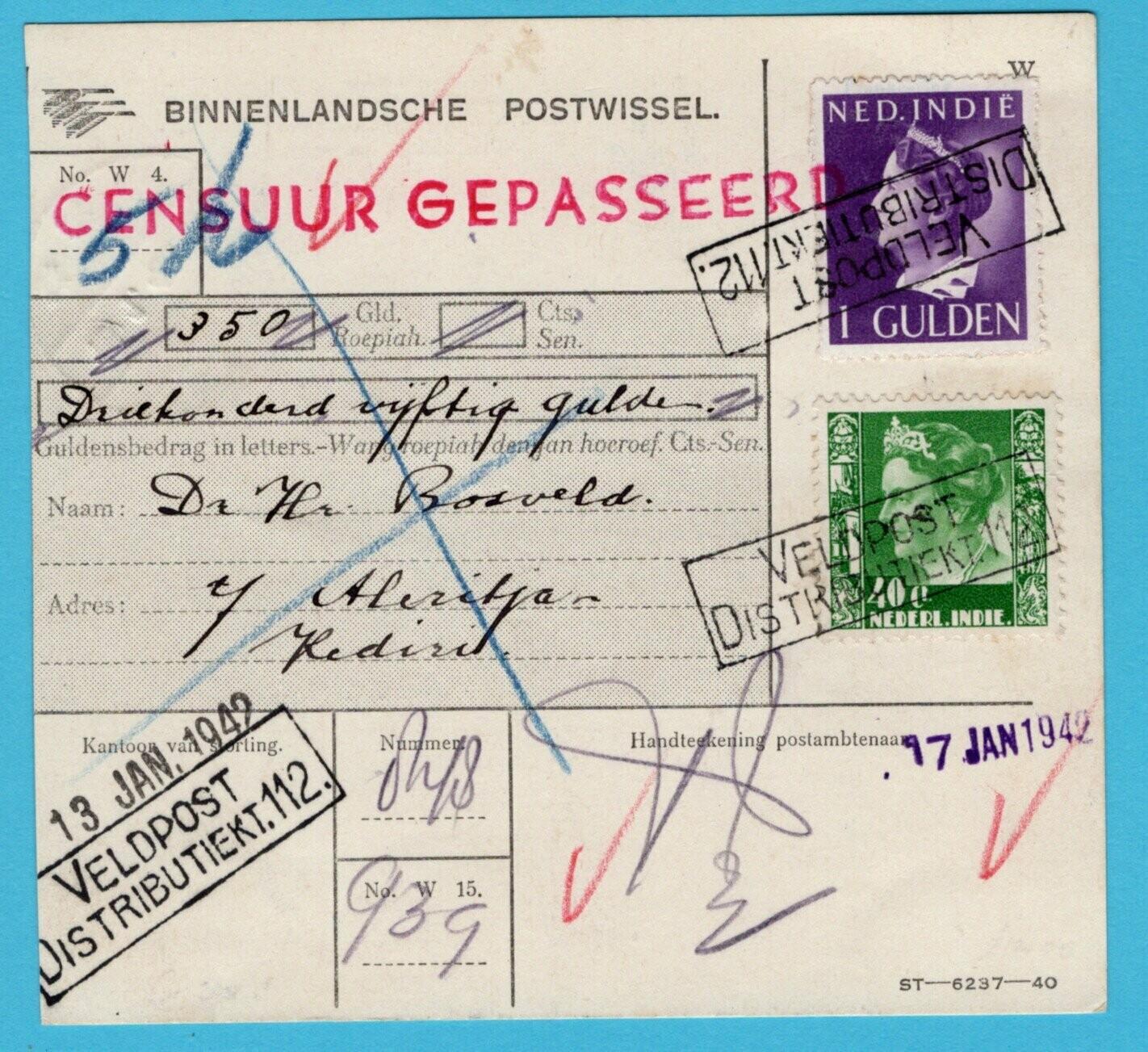 NETHERLANDS EAST INDIES money order 1942 Fieldpost office 112
