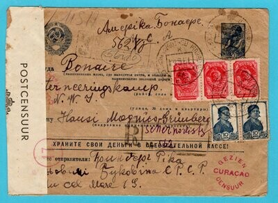 RUSSIA censor R cover 1941 to Internee camp at Bonaire