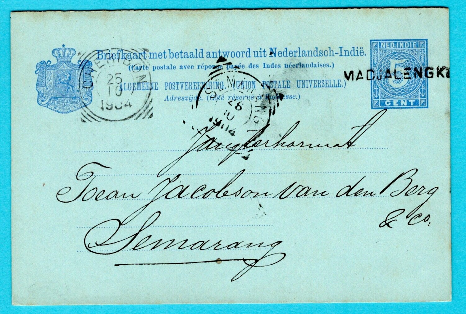 NETHERLANDS EAST INDIES postal card with reply 1904 MadjaLengka
