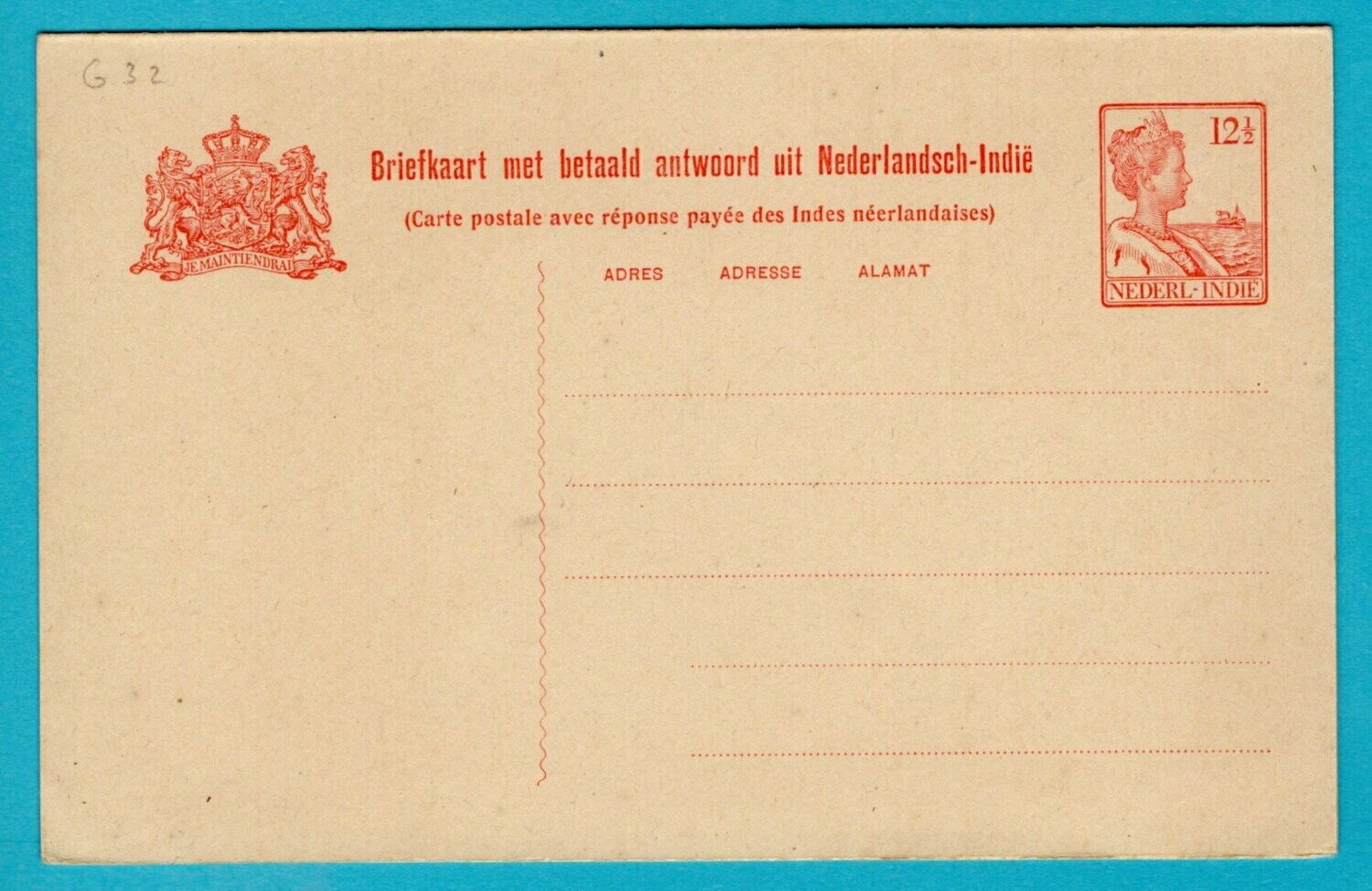 NETHERLANDS EAST INDIES postal card with reply 1921 *