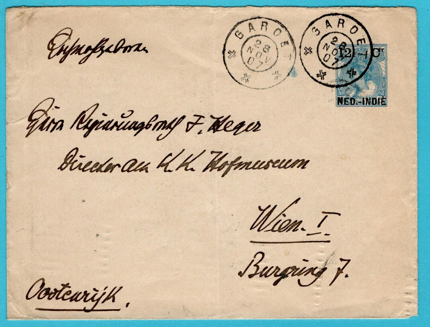 NETHERLANDS EAST INDIES postal evelope 1907 Garoet to Austria