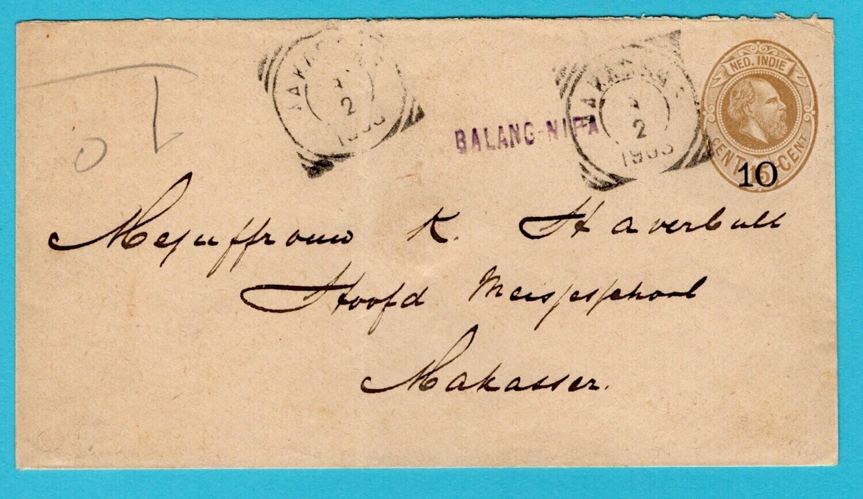 NETHERLANDS EAST INDIES envelope 1903 Balang Nipa