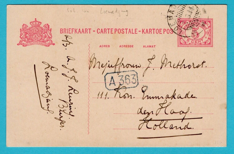 NETHERLANDS EAST INDIES postal card 1914 Loemadjang