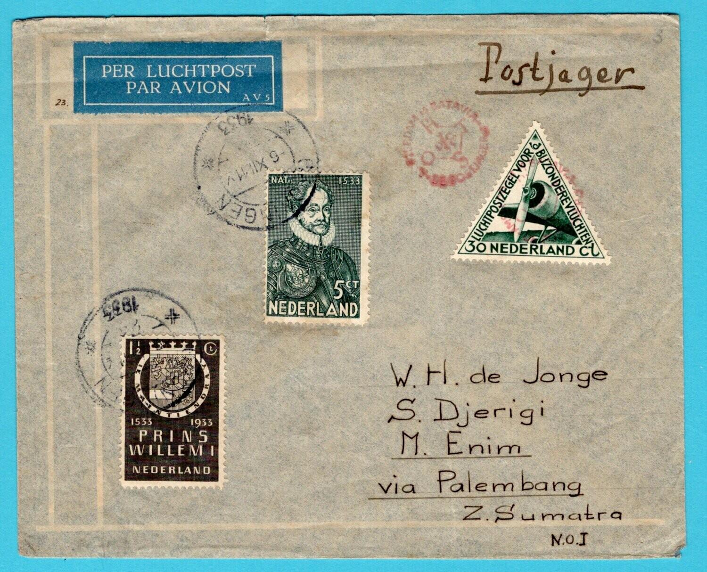 NEDERLAND postjager lp brief 1933 Groningen naar Moeara Enim