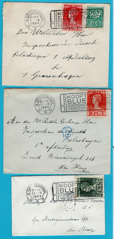 NEDERLAND 3 brieven 1924 Den Haag met BlueBand reclame stempel