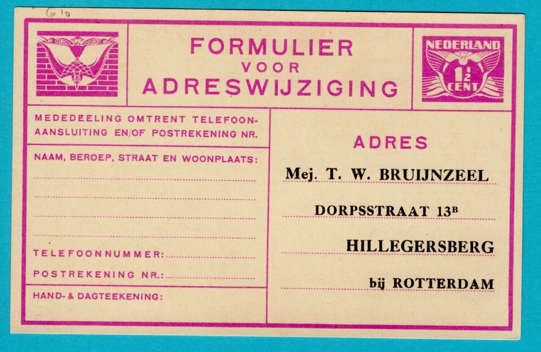 NEDERLAND verhuiskaart 1932 met privé opdruk
