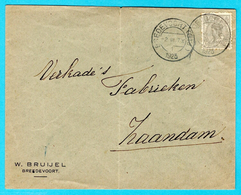 NEDERLAND brief 1923 Bredevoort met 10ct privé getand