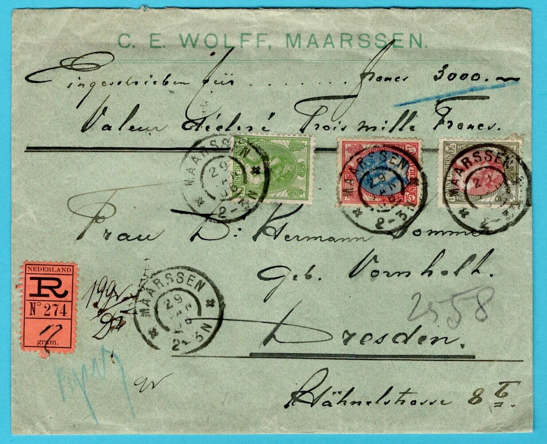 NEDERLAND R waardebrief 1906 Maarssen naar Duitsland