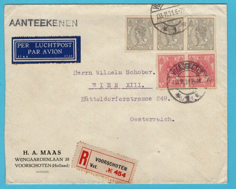 NEDERLAND R brief 1931 Voorschoten naar Oostenrijk