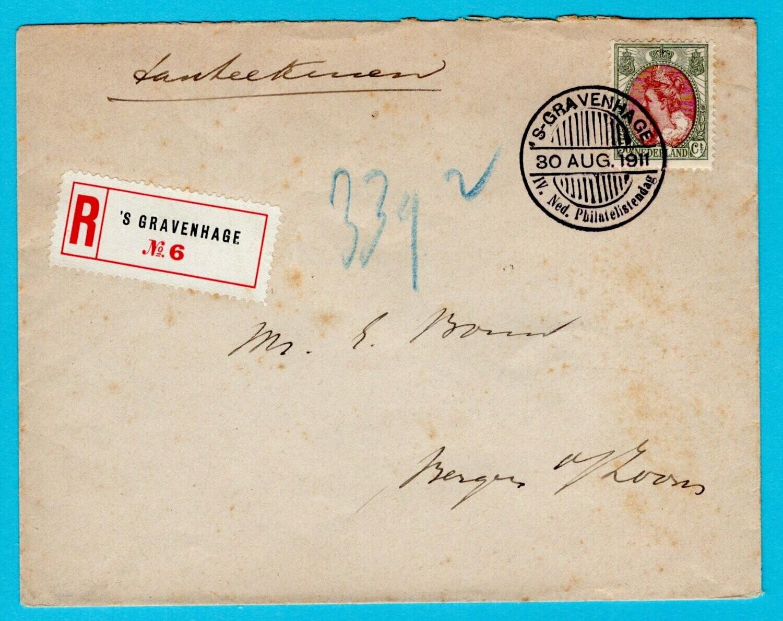NEDERLAND R brief 1911 Den Haag -Ned. Philatelisten dag