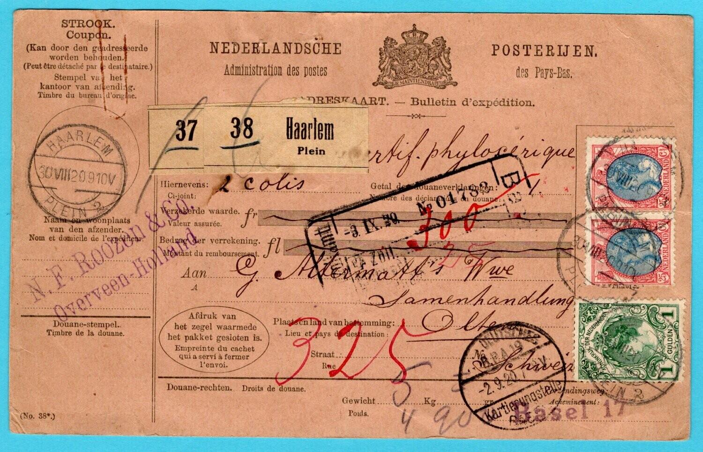 NEDERLAND pakketkaart 1920 Haarlem met Expeditie formulier