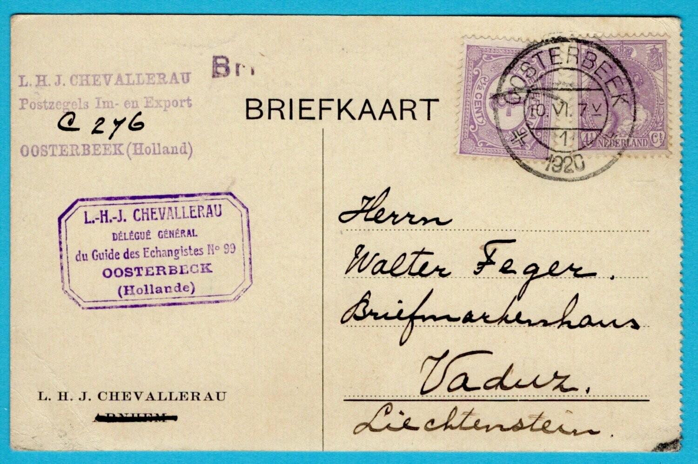 NEDERLAND briefkaart 1920 Oosterbeek naar Liechtenstein